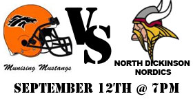 The Munising Mustangs take on the North Dickinson this Friday, September 12th