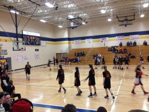 Your Munising Mustang girls warming-up for their game against the Crystal Falls-Forest Park Trojans on Thursday, March 12th, 2015 on 1400am GTO Good Time Oldies and WQXO.com!