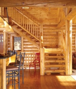 Hiawatha Log Homes indoor staircase - make sure you save some room for it!